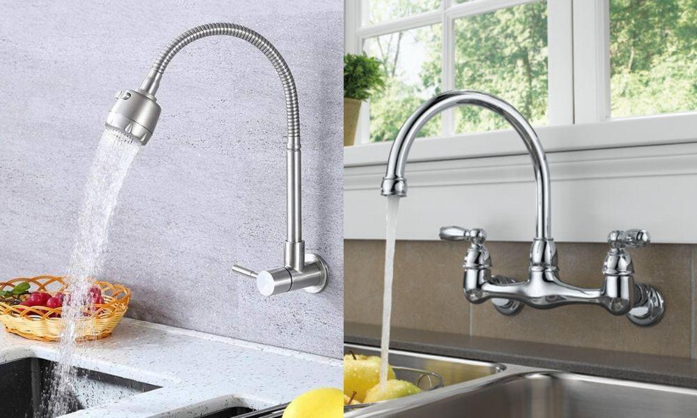 Vòi rửa bát gắn tường có rất nhiều mẫu mã phù hợp với nhiều không gian khác nhau