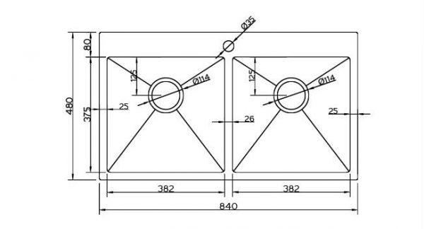 Kích thước lắp đặt chậu rửa bát Inox 304 cao cấp Sobisung SB-8448 nhập từ Hàn Quốc