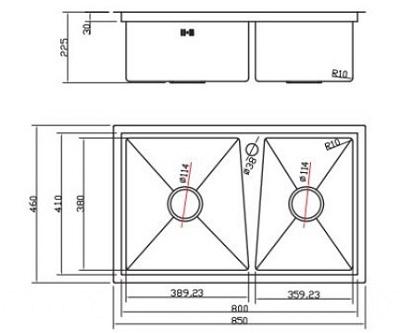 Kích thước lắp đặt chậu rửa bát Inox 304 Hàn Quốc Sobisung SB-8548 cao cấp